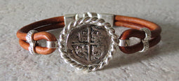 Atocha Coin Bracelet with brown leather band 1