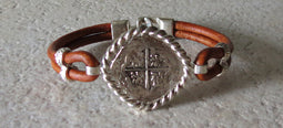 Atocha Coin Bracelet with brown leather band 2