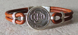 Atocha Coin Bracelet with brown leather band 3