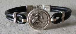 Greek Coin Bracelet with black leather band
