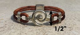 #218 Hurricane Bracelet Leather Band Sterling Silver