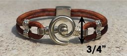 #217 Hurricane Bracelet Leather Band Sterling Silver