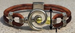 #213 Hurricane Bracelet Leather Band Sterling Silver Gold