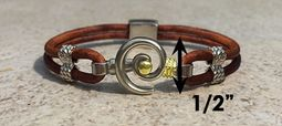 #215 Hurricane Bracelet Leather Band Sterling Silver Gold