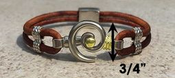 #214 Hurricane Bracelet Leather Band Sterling Silver Gold