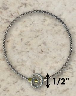 #319 Hurricane Anklet twisted Sterling Silver 14k Gold
