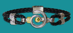 #101 Small Hurricane Bracelet Black Braided with Gold