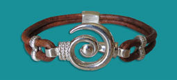 #108 Hurricane Bracelet Brown Braided with Gold Medium
