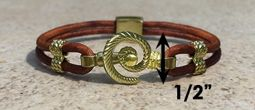 #311a Hurricane Bracelet twisted Leather Band 14k Gold