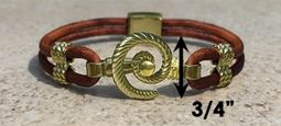 #310a Hurricane Bracelet twisted Leather Band 14k Gold