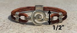#317 Hurricane Bracelet twisted Leather Band Sterling Silver