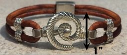 #315 Hurricane Bracelet twisted Leather Band Sterling Silver