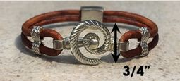 #316 Hurricane Bracelet twisted Leather Band Sterling Silver