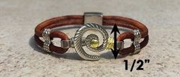 #314 Hurricane Bracelet twisted Leather Band Sterling Silver 14k Gold