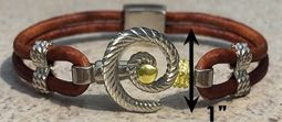 #312a Hurricane Bracelet twisted Leather Band Sterling Silver 14k Gold