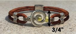 #313a Hurricane Bracelet twisted Leather Band Sterling Silver 14k Gold