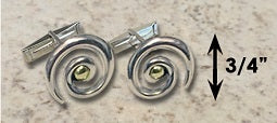 #232 Hurricane Cuff Links Sterling Silver 14k Gold