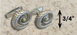 #331 Hurricane Cuff Links twisted Sterling Silver 14k Gold