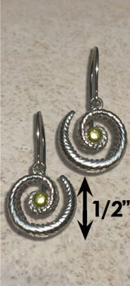 #328 Hurricane Earrings twisted Sterling Silver 14k Gold