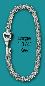 #107 Chain with Large Key<br>Key West Love Bracelet