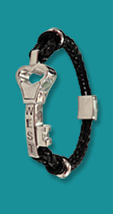 #112 Medium Sterling Silver Love Bracelet with Leather Rope