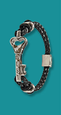 #111 Small Sterling Silver Key West Love Bracelet with Leather