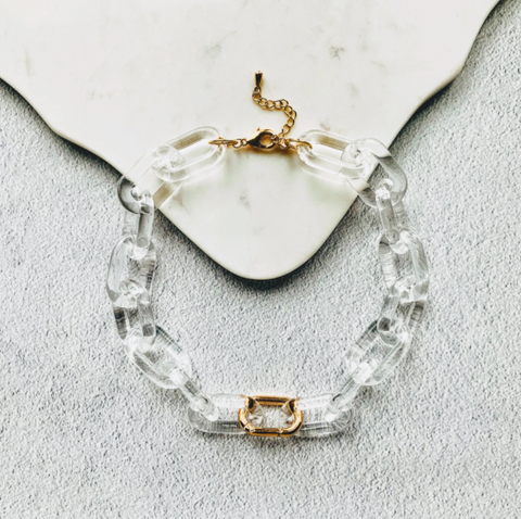 Chunky Clear Chain Carabiner Necklace by Aurelia + Icarus