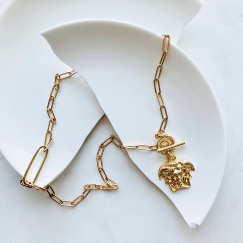 Medusa Gold Toggle Necklace by Aurelia + Icarus