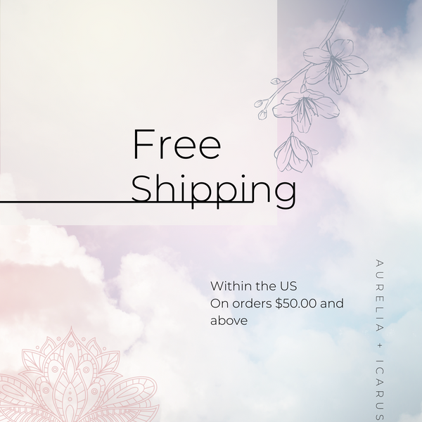 Stylized floral graphic that reads, 'Free Shipping within the US on orders $50.00 and above.'
