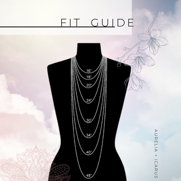 Necklace Size Fit Guide Illustration against a floral and gradient clouds backdrop.