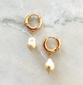 Sofi Small Gilded Pearl Hoops