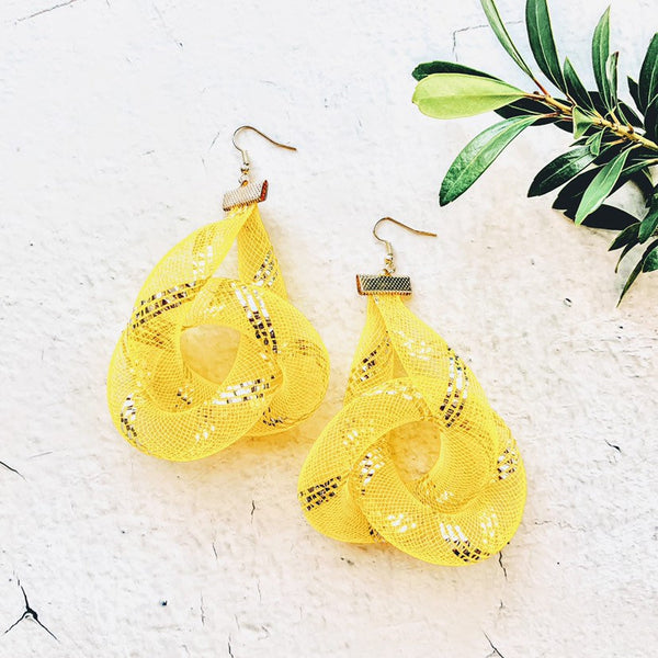 Gaia Canary Yellow Eternity Knot Earrings