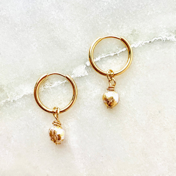 Tiny Gilded Pearl Hoops