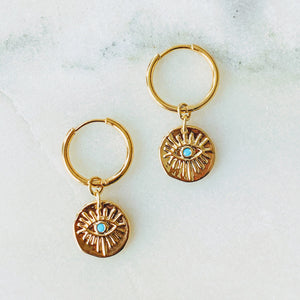 Esme Evil Eye Coin Hoops