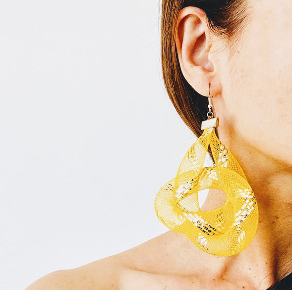Yellow Knot Hoops