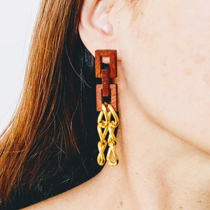 Mahogany Wood Earrings