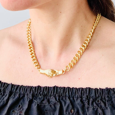 We Hold Hands 14K Gold Filled Chain Necklace