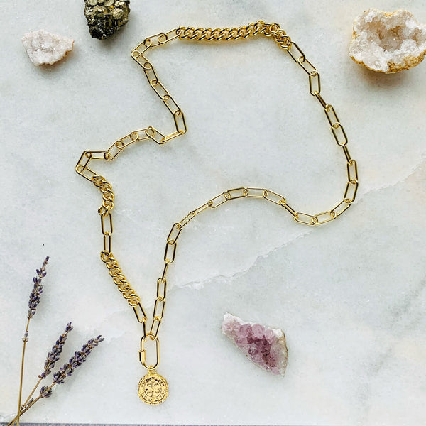Chunky 14K Gold Filled Amulet Necklace