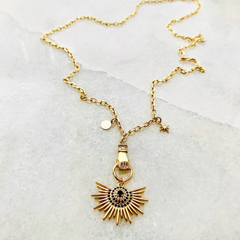 Hand of Fatima Sunburst Necklace