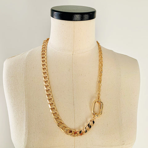16K Gold Mixed Chain Carabiner Necklace