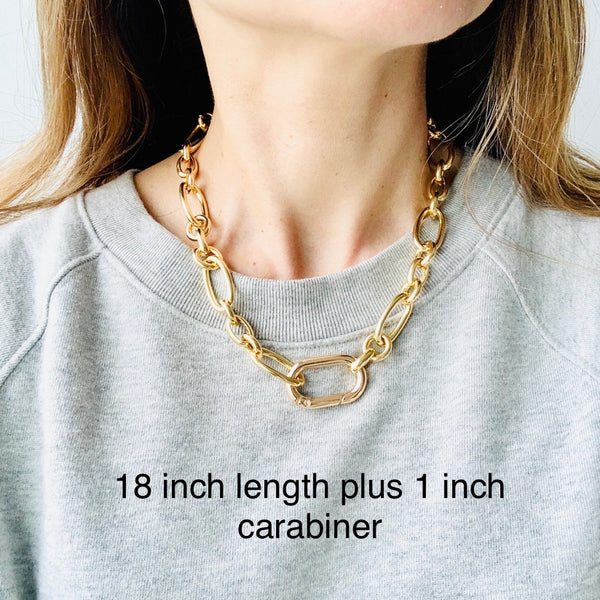 Chunky Gold Chain Carabiner Necklace