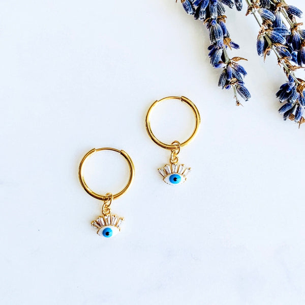Evil Eye Eyelash Cz Hoops
