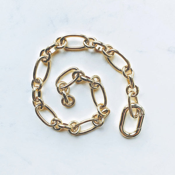 Artistic display of Carabiner Gold Necklace .
