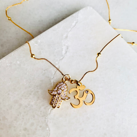 Gold Filled Hamsa Om Meditation Necklace