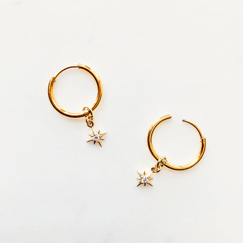Celestial Cz Tiny Star Hoops