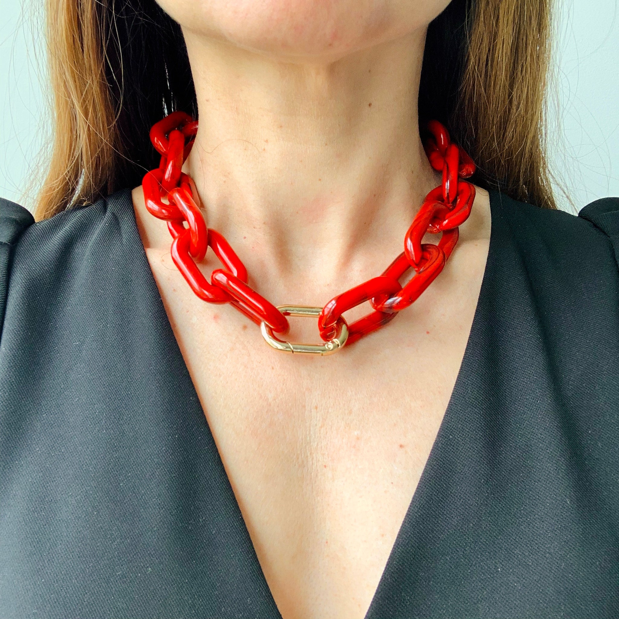 Red Chunky Chain Carabiner Necklace