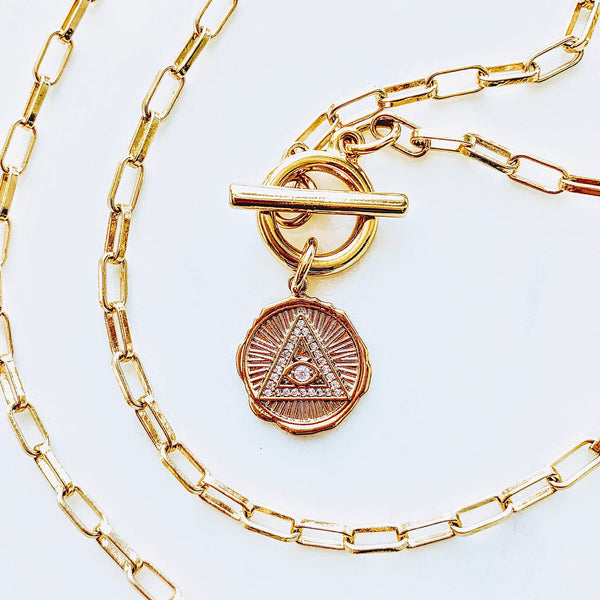 Evil Eye Gold Coin Toggle Wrap Necklace
