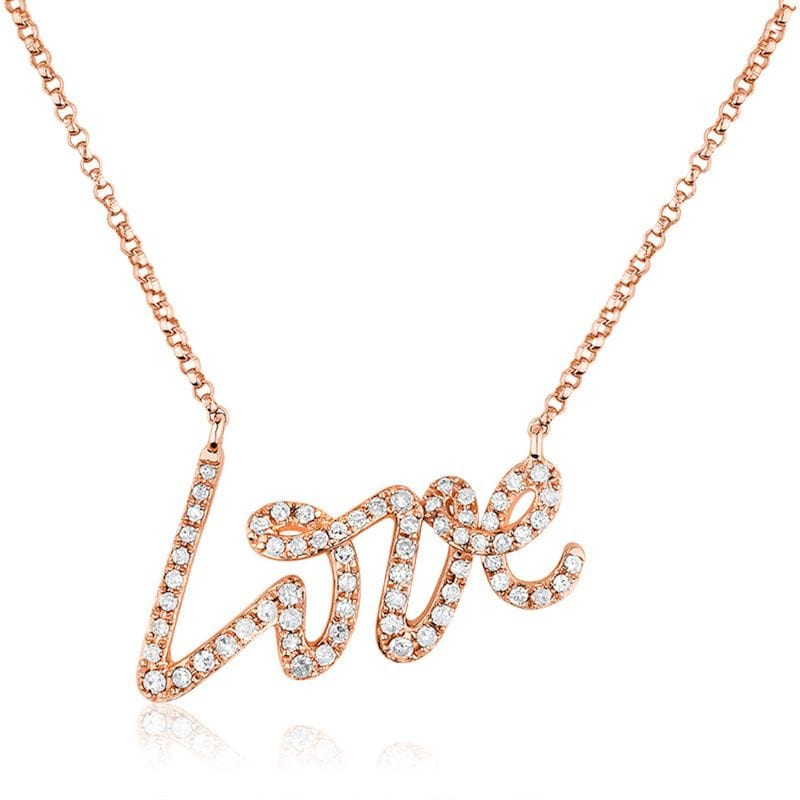 Love Script 14K Rose Gold Pendant