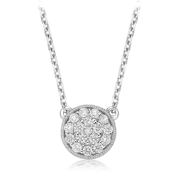 Diamond Pavé Circle with Milgrain Pendant