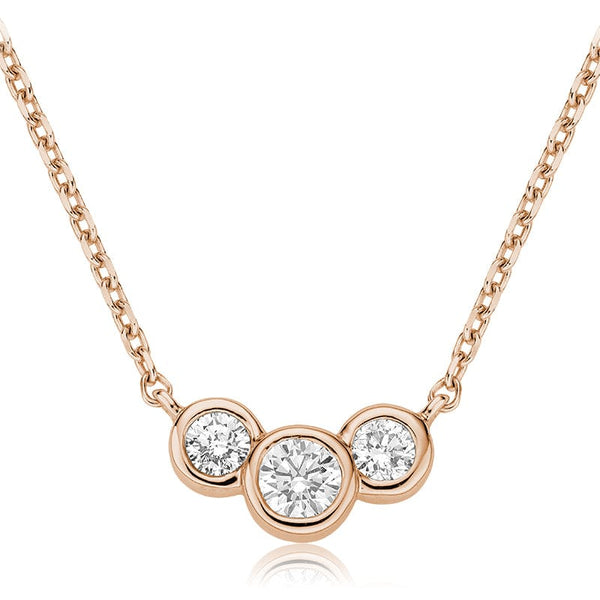 14K Rose Gold Trinity Diamond Bezel Pendant